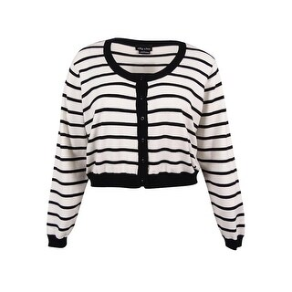 City Chic Women's Plus Size Striped Cropped Cardigan (L, Ivory)