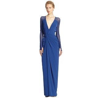 Halston HeritageTwist Front Draped Jersey Evening Gown Dress - S