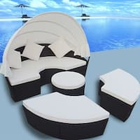 vidaXL Sun Lounger Set 12 Pieces 2-in-1 with Canopy Black Poly Rattan