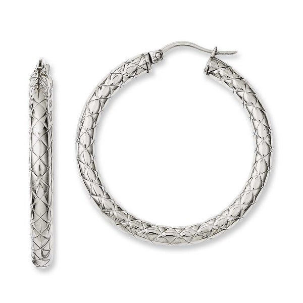 Chisel Stainless Steel Textured & Polished 30mm Hollow Hoop Earrings