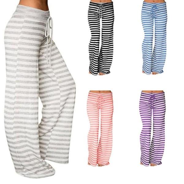 98869c1ab010 Shop Comfy Striped Wide Leg Drawstring Pants - On Sale - Free ...