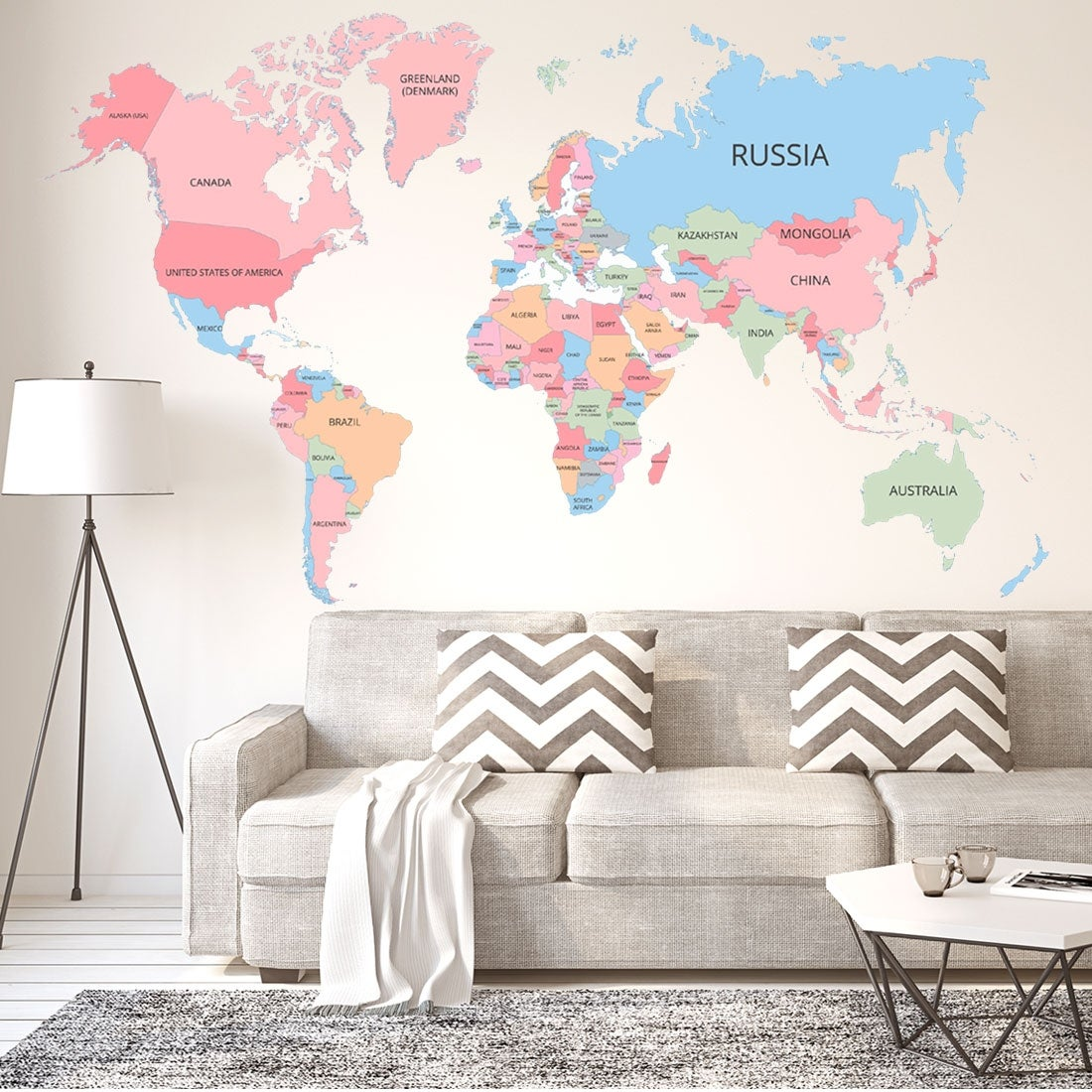World Map Wall Stickers Removable Diy Paper Decal For Bedroom Living Room