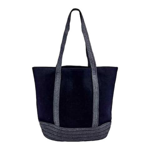 San Diego Hat Company Women's Canvas Tote with Paperbraid Handles BSB1705 Black - US Women's One Size (Size None)