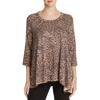 Nally & Millie Womens Pullover Top Animal Print Scoop Neck