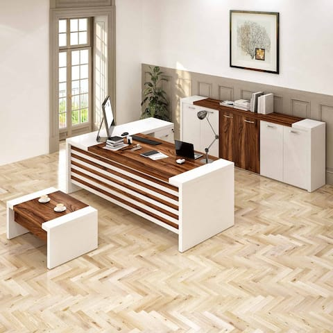 Modern Leon 3-pc. L-shaped White and Brown Office Furniture Set