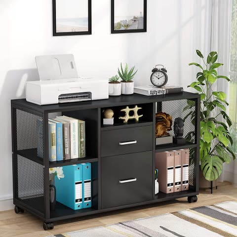 Mobile File Cabinet with 2-Drawer, Large Filing Cabinets Organizers Printer Stand with Open Storage Shelve