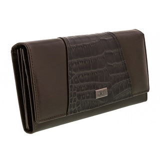 Jacky&Celine J20-003-021 Grey Croc Embossed Panel Multifunction Wallet - 7.25-4-1.25