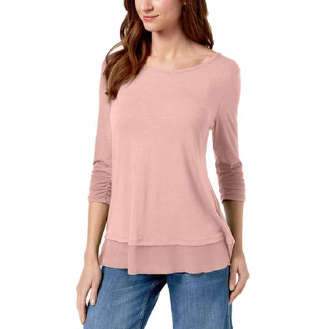 Style & Co Women's Ruched Sleeve Chiffon Hem Top French Tulip Size Extra Small - Pink