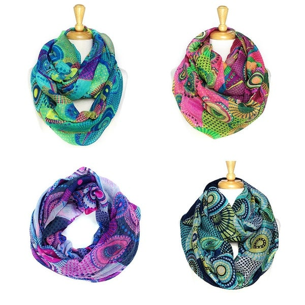 "Fashion Lightweight Scarves 4pcs. Pack - 35"" x 35"" (70"" circumference)"