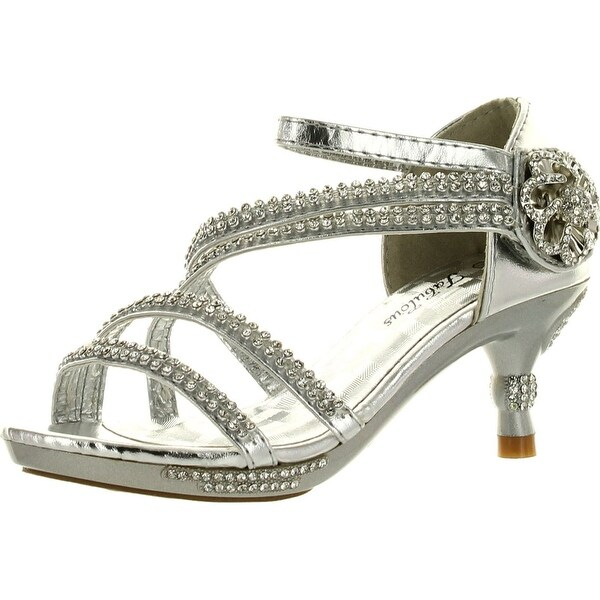Link Glamour-28 Kids Rhinestone Flower Sparkling Bling Heel Designed Dress Sandals