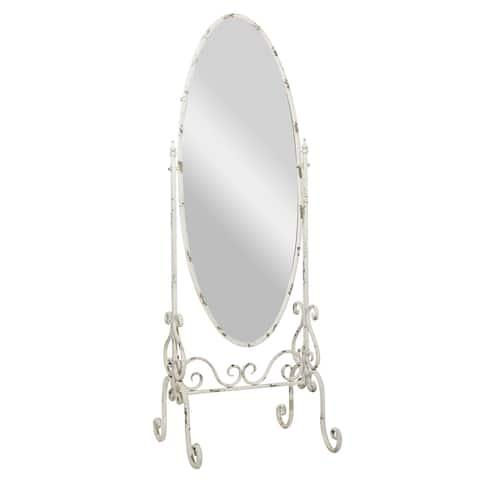 White Iron Vintage Console Mirror 69 x 25 x 21 - 23 x 21 x 69