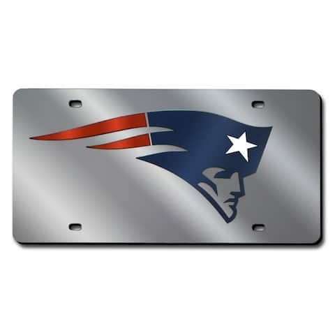 New England Patriots License Plate Laser Cut Silver