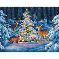 "Woodland Glow Counted Cross Stitch Kit-14""X11"" 14 Count"