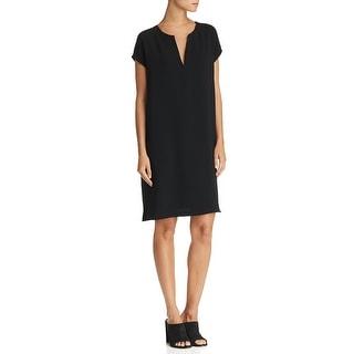 Theory Womens Satunina Shift Dress Urban Crepe Above Knee - Black - P