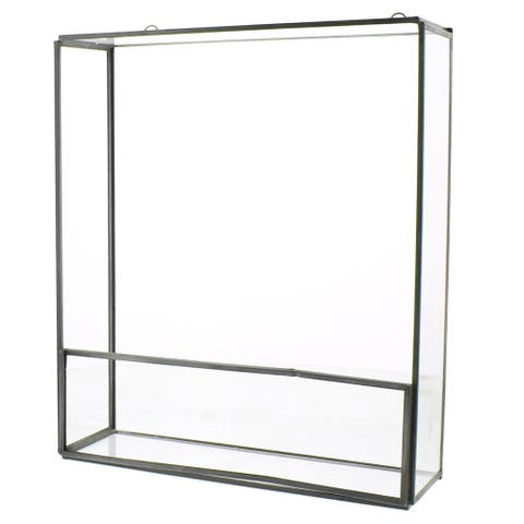 Rectangular Metal Frame Wall Shelf with Ring Holders, Medium,Gray and Clear
