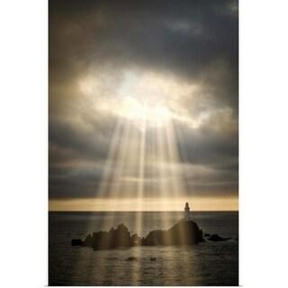 """Lighthouse under stormy sky with sundays"" Poster Print"