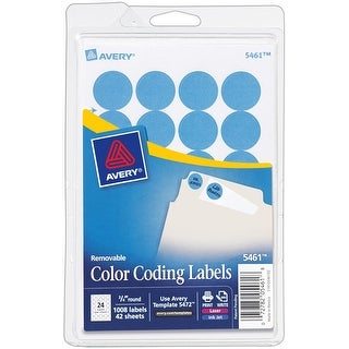 """Avery Print/Write Self-Adhesive Removable Labels 1008/Pkg-Light Blue, .75"""" Round"""