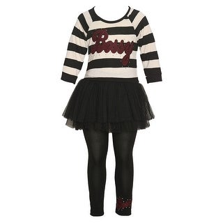 "Little Girls Black Burgundy ""Bossy"" Applique Stripe 2 Pc Legging Set"