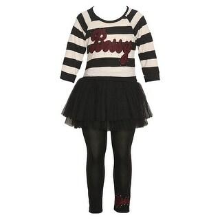 """Little Girls Black Burgundy """"Bossy"""" Applique Stripe 2 Pc Legging Set (Option: 5)"""