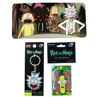 Rick and Morty Key Chain, Auto Sun Shade and Poopybutthole Air Freshener Bundle - multi