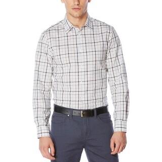 Perry Ellis Mens Tattersall Button-Down Shirt Plaid Classic Fit - XL