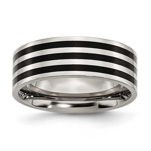 Stainless Steel 8mm Black-plated Stripes Brushed & Polished Band