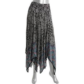 Aqua Womens Handkerchief Hem Printed Peasant, Boho Skirt