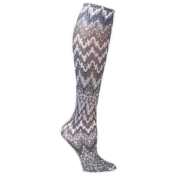 Celeste Stein Mild Compression Knee High Stockings, Wide Calf-Black/White Flames - Medium