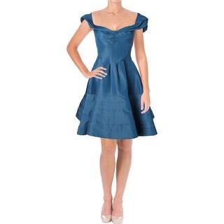 Zac Posen Womens Semi-Formal Dress Portrait Neck Cap Sleeves - 2