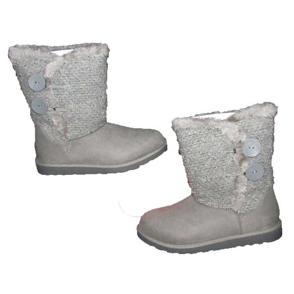 SO Crayon Women's Wool Suede/Faux Fur Grey Boots - 10
