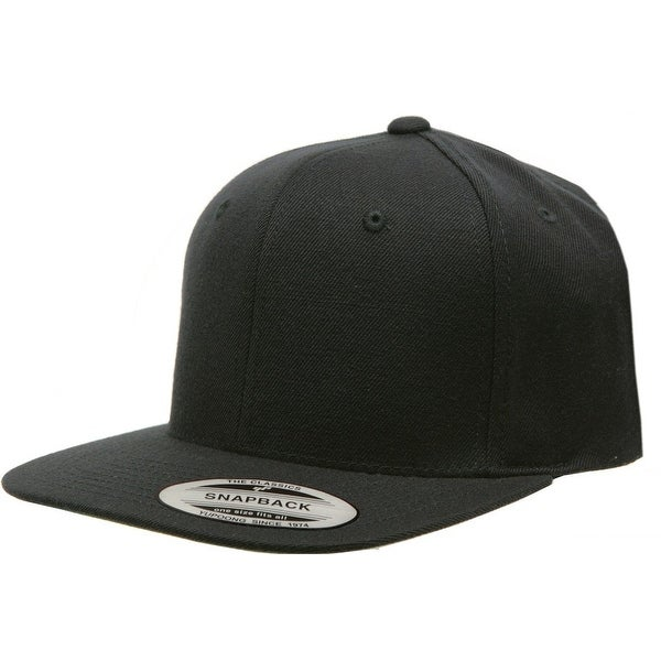 762c3bf433ff5 Shop Yupoong Pro-Style Wool Blend Snap Back Blank Hat Baseball Cap 6098M -  Black - Free Shipping On Orders Over  45 - Overstock - 16948497