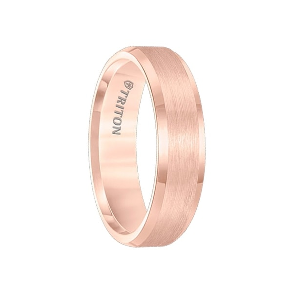 BOCELLI Satin Finish Rose Gold Plated Tungsten Carbide Wedding Band Beveled Edges by Triton Rings - 6mm