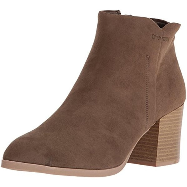 Qupid Womens Wilson Ankle Boots Faux Suede Stacked Heel