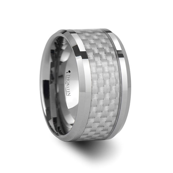 THORSTEN - ULTIMUS Beveled White Carbon Fiber Inlay Tungsten Band - 12mm