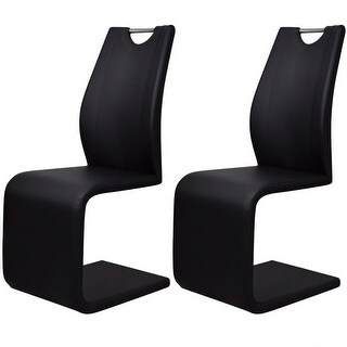vidaXL Cantilever Dining Chairs 2 pcs Artificial Leather Black