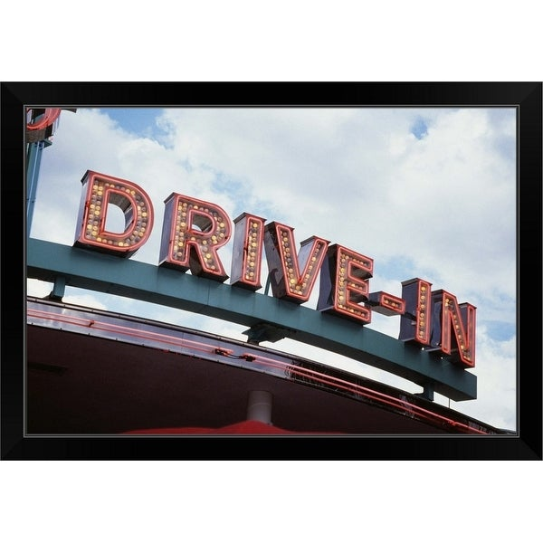 """Drive In sign USA"" Black Framed Print"