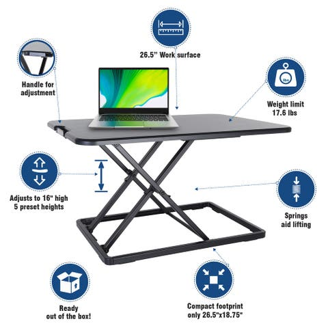 Compact Standing Desk Height Adjustable Sit to Stand Workstation