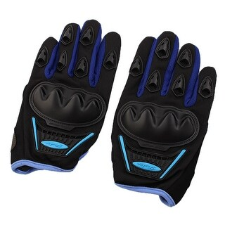 Motorcycle Bicycle Non-slip Hard Full Finger Protective Gloves Blue Black Pair
