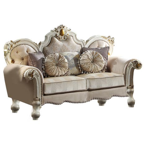 Wood and Fabric Traditional Style Loveseat with Toss Pillows, White and Cream