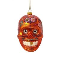 "4"" Day of the Dead Orange Glitter Embellished Skull Halloween Christmas Ornament"