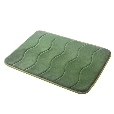 "Forest Green Wave Stitched Velvet Memory Foam Bath Runner 24""x60"" Fast Drying Non Slip"