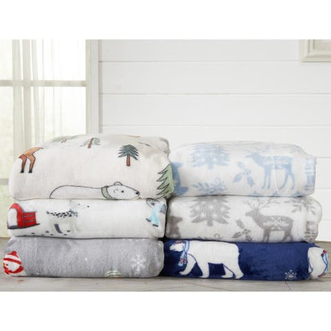 Great Bay Home Velvet Plush Holiday Printed Bed Blanket Pearl Collection