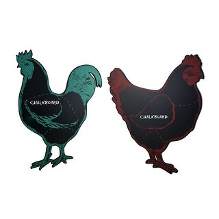 Clucky Chicken & Reddy Rooster Distressed Finish Hanging Chalkboard Set - Black