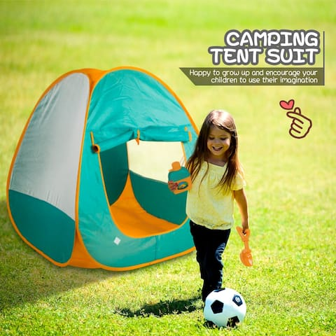 Kids Camping Tent Set Toys- Includes Pop Up Play Tent,Camping Gear Set