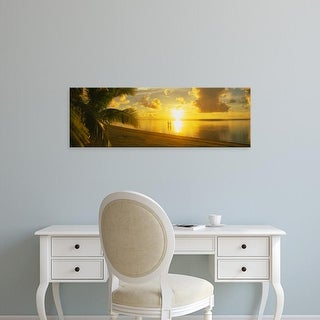 Easy Art Prints Panoramic Images's 'Couple Standing On The Beach, Aitutaki, Cook Islands, French Polynesia' Canvas Art