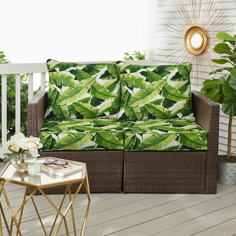 Green Indoor/ Outdoor Deep Seating Pillow and Cushion Loveseat Set