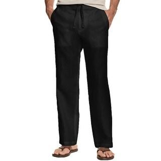Link to Tasso Elba Mens Pants Black Size 2XL Straight Leg Linen Drawstring Similar Items in Big & Tall