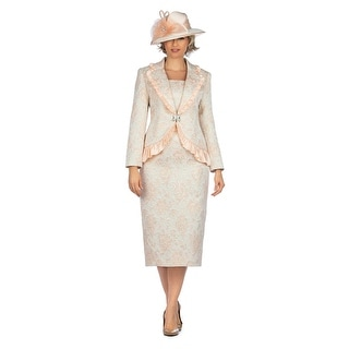 Link to Giovanna Signature 2pc Metallic Brocade Satin Ruffled Skirt Suit Similar Items in Suits & Suit Separates