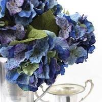 "G Home Collection Silk 5 Hydrangea Bloom Bush in Blue 21"" Tall"