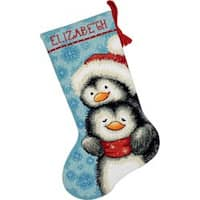 """Hugging Penguins Stocking Needlepoint Kit-16"""" Long Stitched In Wool & Thread"""